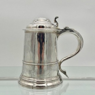 Antique George II Sterling Silver Tankard & Cover London 1735 Thomas Mason