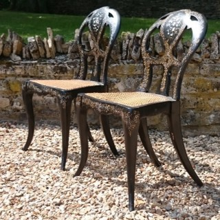 Pair of 19th Century Ebonised and Inlaind Side Chairs