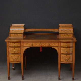 Late Victorian Carlton House Desk in Satinwood