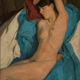 'Nude on Blue' by Neale Worley RP NEAC (born 1962)