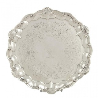 Antique Early Victorian Sterling Silver Tray / Salver 1849