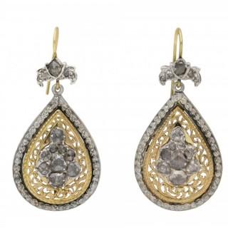 Victorian rose cut diamond drop earrings, circa 1880.