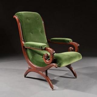 Gillows Regency Mahogany and Green Velvet Spanish Armchair.