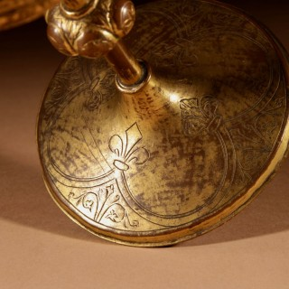 A Gilded And Engraved Copper Ciborium Franco/Spanish 1450-1500