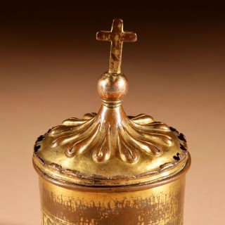 A Gilded and Engraved Copper Pyx Of Unusual shape Franco/Spanish 1450-1500