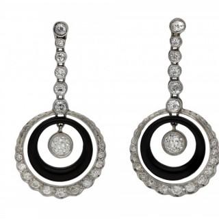 Art Deco Onyx and diamond earrings French, circa 1925.