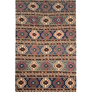 Handwoven Caucasian Kilim  Cream Wool Azerbaijan Kilim- 200x398cm