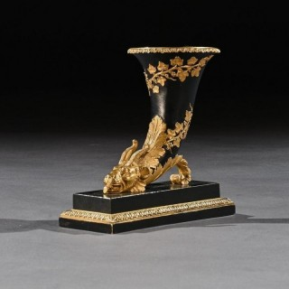Early 19th Century Gilt and Patinated Bronze Rhyton With Chimera Rams Head