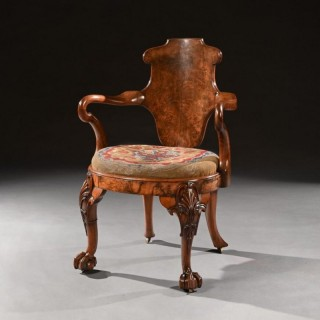 George IV Burr Walnut Shepherds Crook Escutcheon Back Library Armchair Firmly Attributed to Gillows