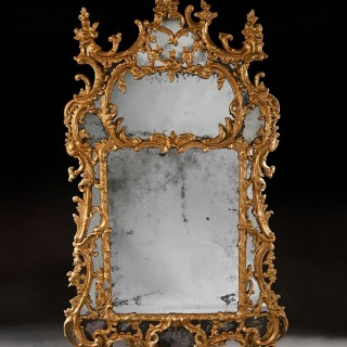 Exceptional Mid 18th Century George II Carton Pierre Gilt Mirror in the Manner of John Linnell.