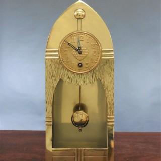 Arts and Crafts Brass Mantel Clock