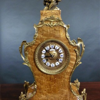French Ormolu and Birds Eye Maple Boulle Clock