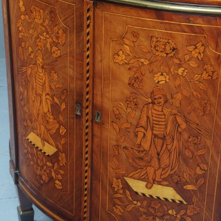 Antique Marquetry Inlaid Mahogany Dutch Commode