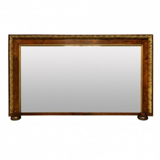 A GEORGE II WALNUT & PARCEL GILT OVERMANTLE MIRROR