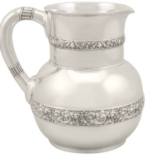 American Sterling Silver Water Pitcher Jug by Tiffany & Co - Antique Circa 1875