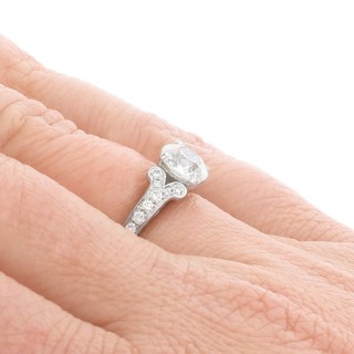1.42ct Diamond and 18ct White Gold Solitaire Ring - Antique and Contemporary