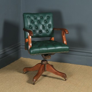 Antique English Edwardian Solid Oak & Green Leather Upholstered Revolving Office Desk Arm Chair (Circa 1910)
