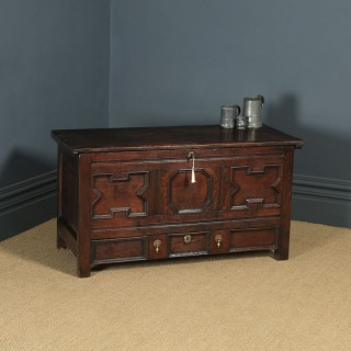 Antique English 17th Century Oak Geometric Mule Chest / Blanket Box / Trunk with Drawer (Circa 1680 - 1700)
