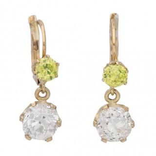 Antique fancy coloured diamond earrings, circa 1900.