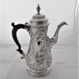 Super early George III silver coffee pot London 1761 Thomas Whipham & Charles Wight