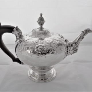 Fine early George III silver pear shaped teapot London 1760 Thomas Whipham & Charles Wight