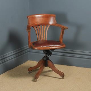 Antique English Edwardian Oak & Brown Leather Revolving Office Desk Arm Chair (Circa 1910)