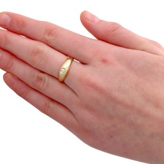 0.35ct Diamond and 18ct Yellow Gold Dress Ring - Vintage Circa 1980