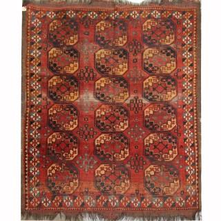 Handmade Antique Turkmen Wool Carpet Area Rug- 195x220cm