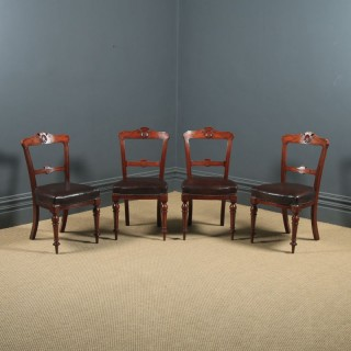 Antique English Victorian Set of Four 4 Mahogany & Burgundy Leather Shell Carved Dining Chairs (Circa 1880)