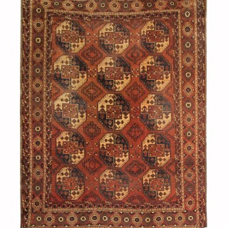 Handmade Antique Turkmen Rug, Classic Oriental Red Wool Carpet Area Rug-260x330cm