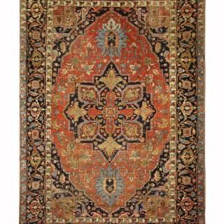 Large Persian Rug, Antique Heriz Carpet Area Rug- 258x351