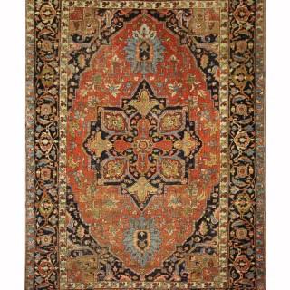 Large Persian Rug, Antique Heriz Carpet Area Rug- 258x351