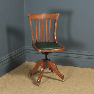 Antique English Edwardian Beech & Green Leather Revolving Office Desk Side Chair (Circa 1910)
