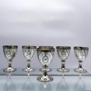 Set of Six Modern Sterling Silver Wine Goblets London 2000 C J Vanders