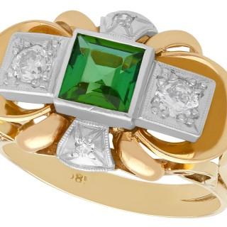 0.83ct Tourmaline and 0.45ct Diamond, 18ct Yellow Gold Dress Ring - Vintage Circa 1940