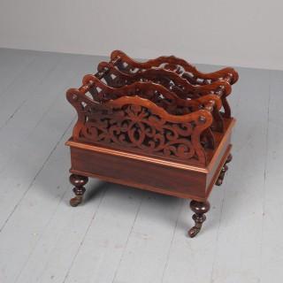 Antique Victorian Rosewood Foliate Design Canterbury