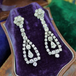 A magnificent pair of 8.30ct Diamond Drop Earrings set in 18ct White Gold, Circa 1955