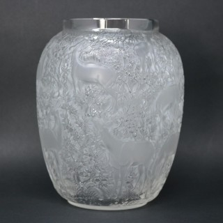 Rene Lalique Clear & Frosted Glass Deer Vase