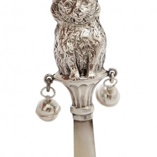 Antique Sterling Silver 'Cat' Baby Rattle 1928