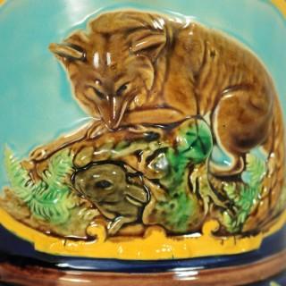 George Jones Majolica Fox and Dog Lidded Jug/Pitcher