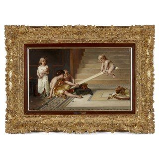 19th Century Academic Oil Painting 'Playing with the Seesaw' by Joseph Coomans