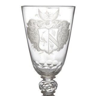 Antique 18th Century Glass Goblet with Engraving from Thuringia