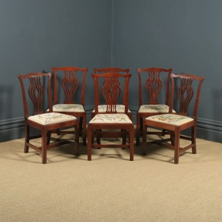 Antique English Set of Six 6 Georgian Mahogany & Tapestry Dining Chairs (Circa 1790)