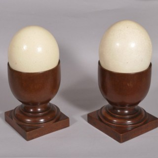 Antique Late Victorian Solid Mahogany Pair of Urns with Blown Unworked Ostrich Eggs