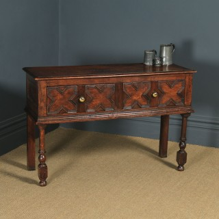 Antique English Victorian Jacobean Style Oak Geometric Dresser Base Sideboard (Circa 1870)