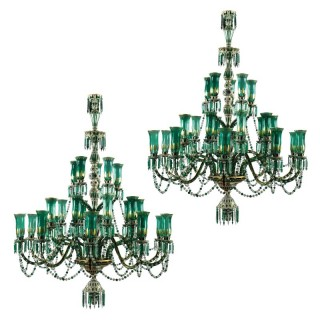 Outstanding Pair of Green and Parcel Gilt Glass Chandeliers by Osler for Indian Market