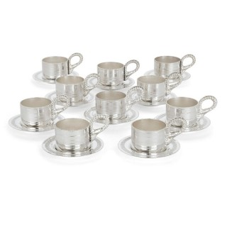 Set of Ten Lebanese Silver Plate Cups and Saucers by Habis