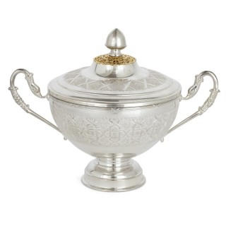 Silver Plate and Gilded Serving Bowl with Swan Handles