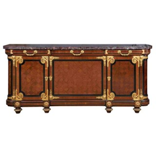 Antique Louis XVI Style Mahogany, Ormolu and Marble Cabinet by Mercier Frères