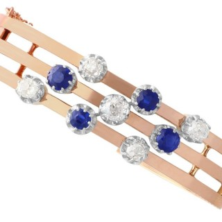 2.10ct Sapphire and 2.05 ct Diamond, 18ct Rose Gold Bangle - Antique French Circa 1900